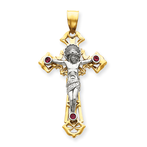 14kt Two-tone Gold 2 1/4in Red CZs Crucifix Pendant