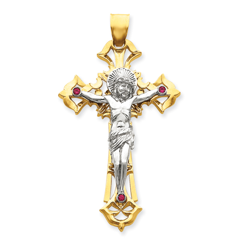 14k Two-tone Gold Crucifix Pendant with Red CZs 3 3/4in