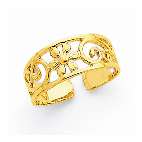 14kt Yellow Gold Filigree Floral 6mm Toe Ring