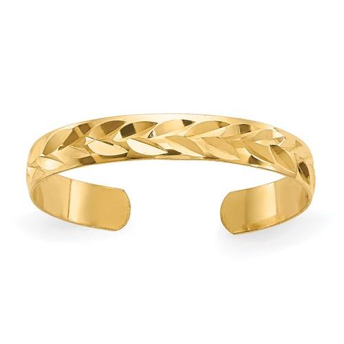 14kt Yellow Gold Diamond-Cut Toe Ring