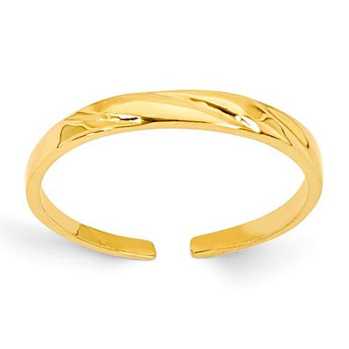14kt Yellow Gold Diamond-cut 2mm Toe Ring