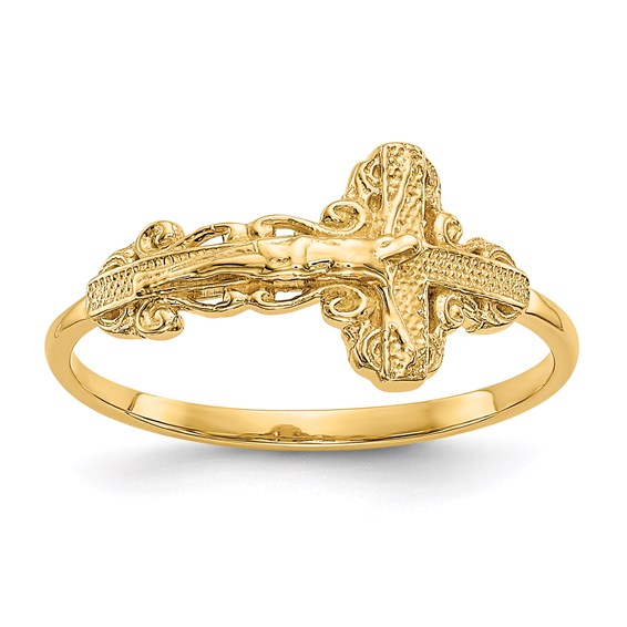 14kt Yellow Gold Diamond-cut Crucifix Ladies' Ring