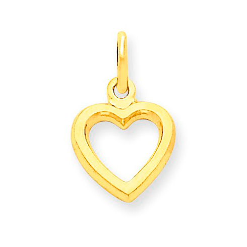 14kt Yellow Gold 3/8in Classic Heart Charm with Flat Back