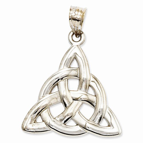 14kt White Gold 7/8in Celtic Trinity Knot Pendant