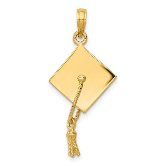 14kt Yellow Gold 3-D Graduation Cap Pendant