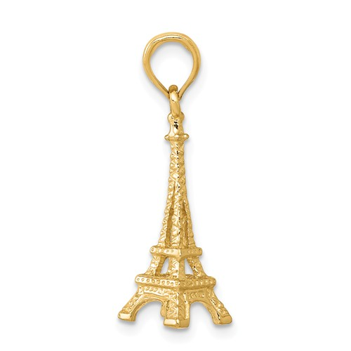 14kt Yellow Gold 7/8in 3-D Eiffel Tower Charm
