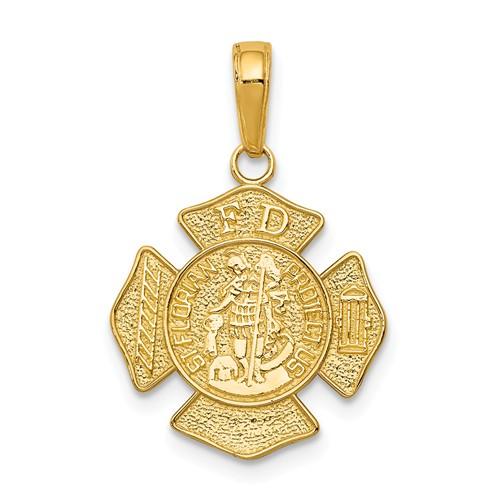 14k Yellow Gold Saint Florian Badge Pendant 5/8in