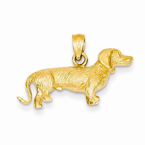 14kt Yellow Gold 3-D Wire Haired Dachshund Charm