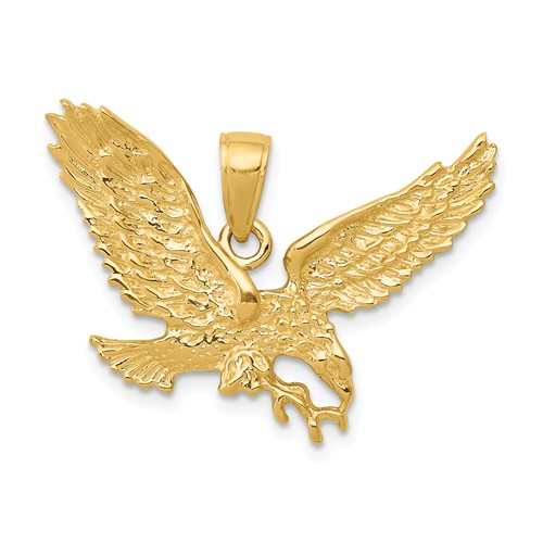 14k Yellow Gold Soaring Eagle Pendant 3/4in