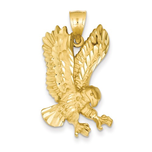 14kt Yellow Gold 1 1/4in Landing Eagle Pendant