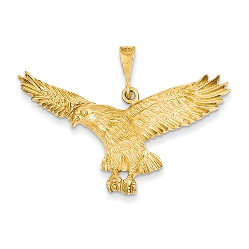 14kt Yellow Gold 7/8in Wide Eagle Pendant
