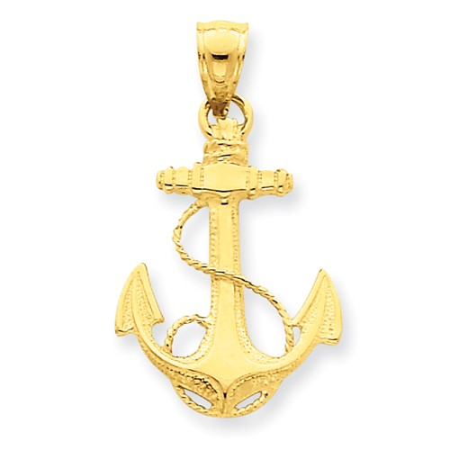14kt Yellow Gold 7/8in Polished Anchor Pendant with Rope