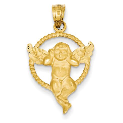 14kt 7/8in Satin Angel in Circle Pendant
