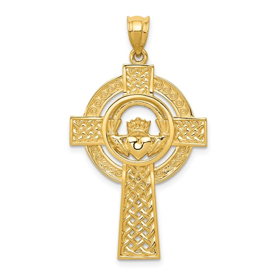 14kt Yellow Gold 1 1/4in Celtic Claddagh Cross