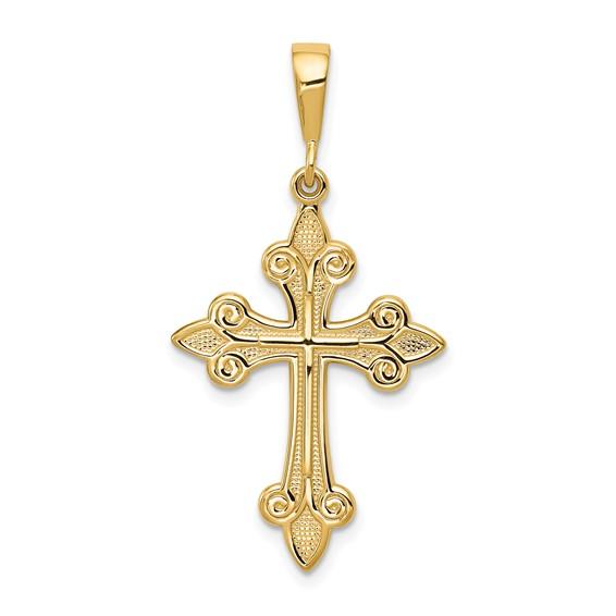 14kt Yellow Gold 1in Textured Fleur de Lis Cross