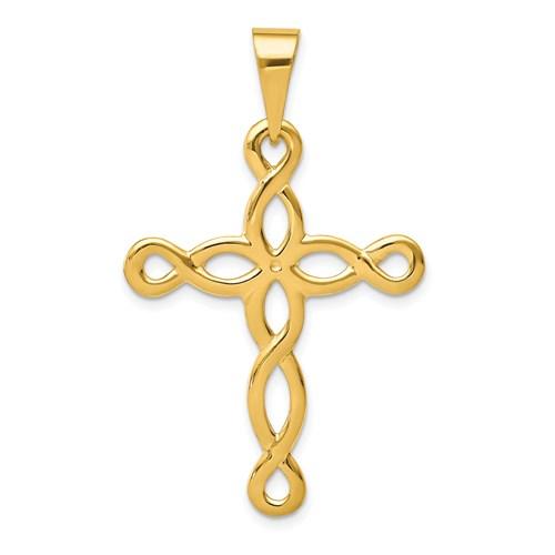 14kt 1 3/8in Polished Cross Pendant