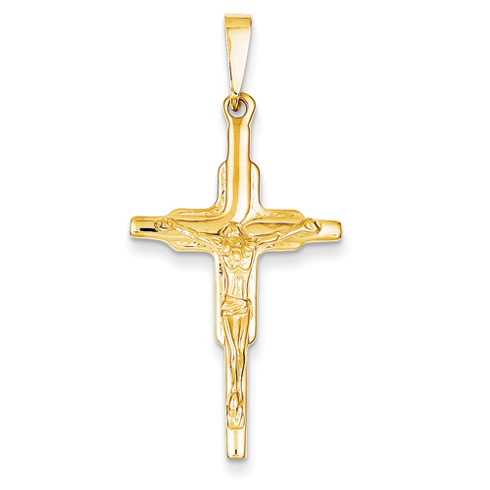 14kt Yellow Gold 1 1/4in Polished Crucifix Pendant