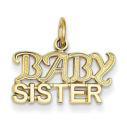 14kt Yellow Gold Baby Sister Block Letters Charm