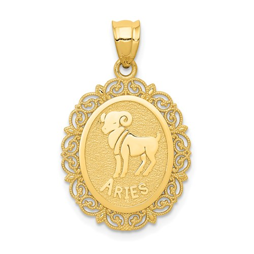 14kt Yellow Gold 3/4in Aries Oval Pendant