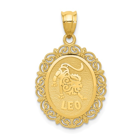 14kt Yellow Gold 3/4in Leo Oval Pendant
