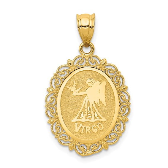 14kt Yellow Gold 3/4in Virgo Oval Pendant