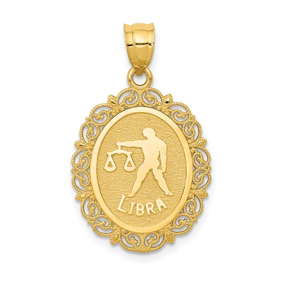 14kt Yellow Gold 3/4in Libra Oval Pendant