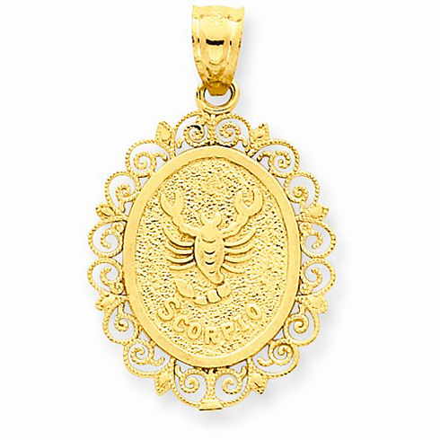 14kt Yellow Gold 3/4in Scorpio Oval Pendant