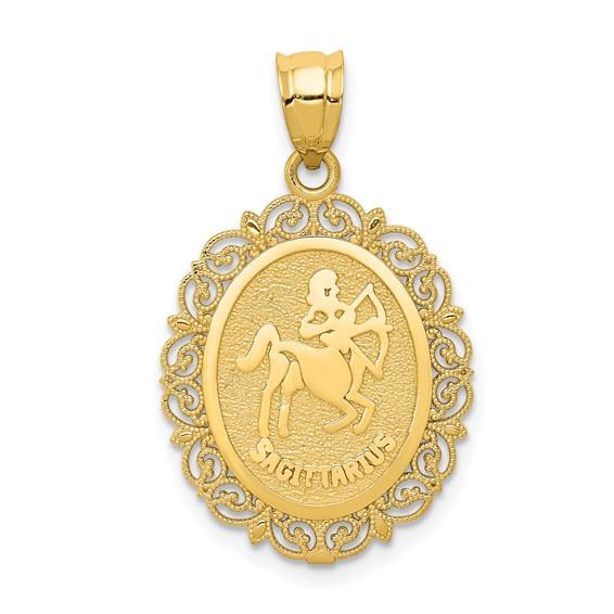 14kt Yellow Gold 3/4in Sagittarius Oval Pendant