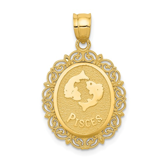 14kt Yellow Gold 3/4in Pisces Oval Pendant