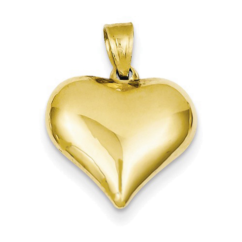 14kt Yellow Gold 1/2in Hollow Puff Heart Charm