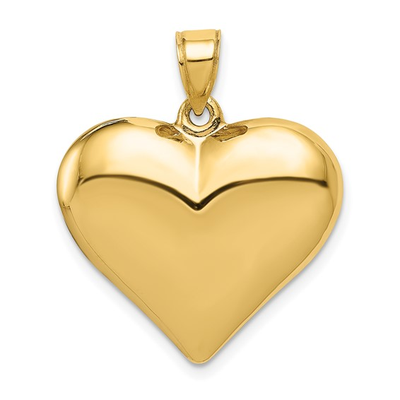 14kt Yellow Gold 3/4in Hollow Puff Heart Pendant