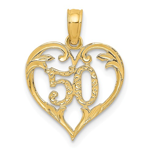14kt Yellow Gold 1/2in 50th Heart Anniversary Charm