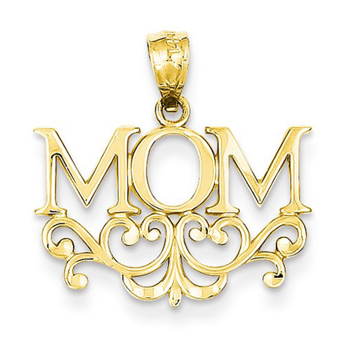 14kt Yellow Gold 1/2in MOM Floral Pendant