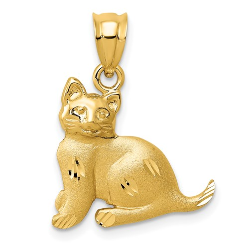 14kt Yellow Gold 7/8in Diamond-cut Cat Pendant