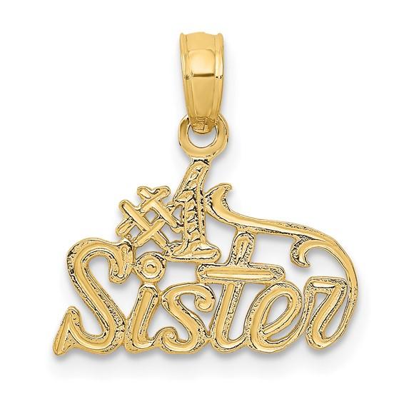 14k Yellow Gold #1 Sister Pendant