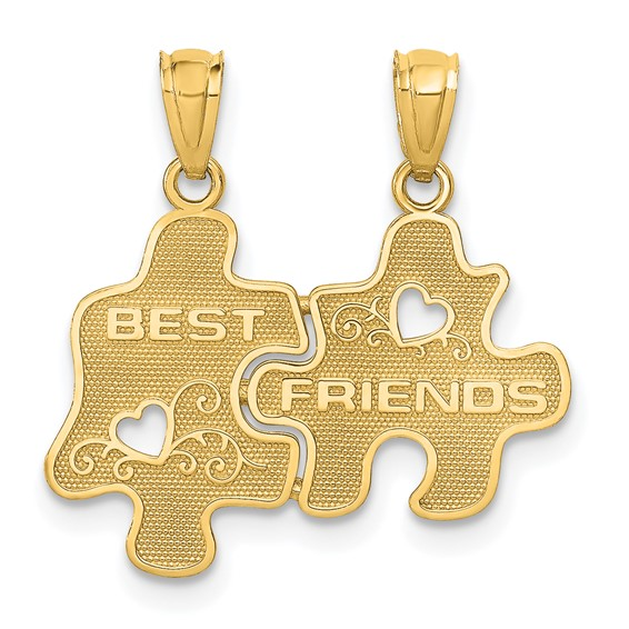 14kt Yellow Gold Puzzle Pieces Best Friends Pendant