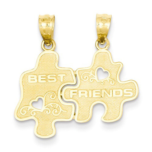 14kt Yellow Gold 7/8in Puzzle Pieces Best Friends Pendant
