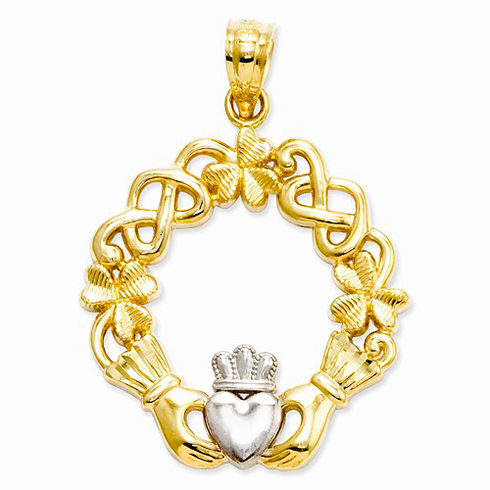 14kt Yellow Gold Rhodium 3/4in Claddagh Pendant