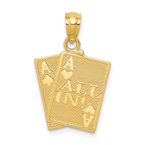 14k Yellow Gold Ace Of Hearts And Ace Of Spades All In Cards Pendant