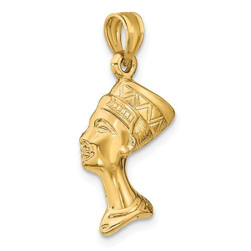 14k Yellow Gold Nefertiti Pendant 3-D Hollow 3/4in