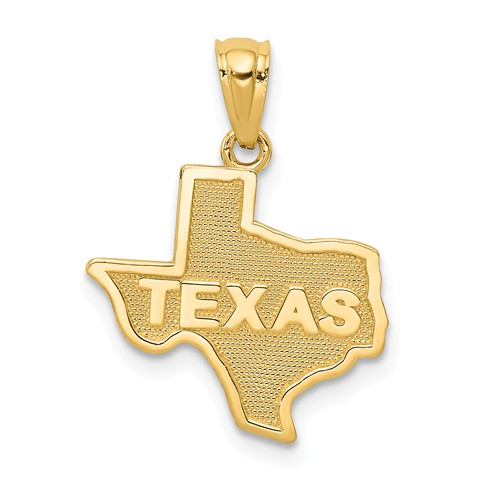 14k Yellow Gold State Of Texas Pendant 1/2in