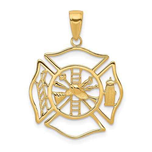 14k Yellow Gold Firefighter Outline Pendant 7/8in