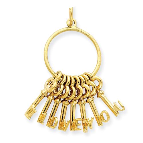 1/2in 14k I Love You Key Ring Charm