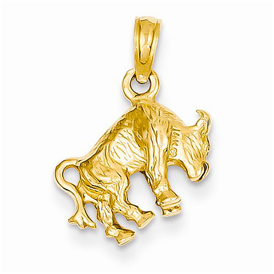 14kt Yellow Gold 3-D Taurus Charm