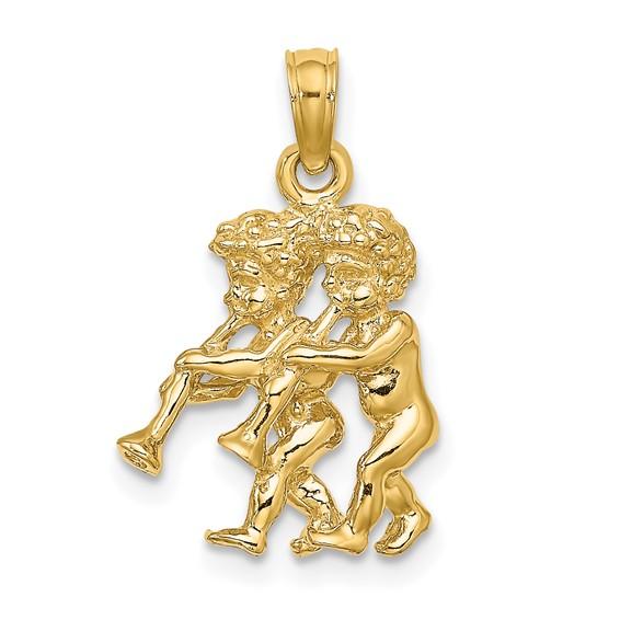 14kt Yellow Gold 3-D Gemini Charm