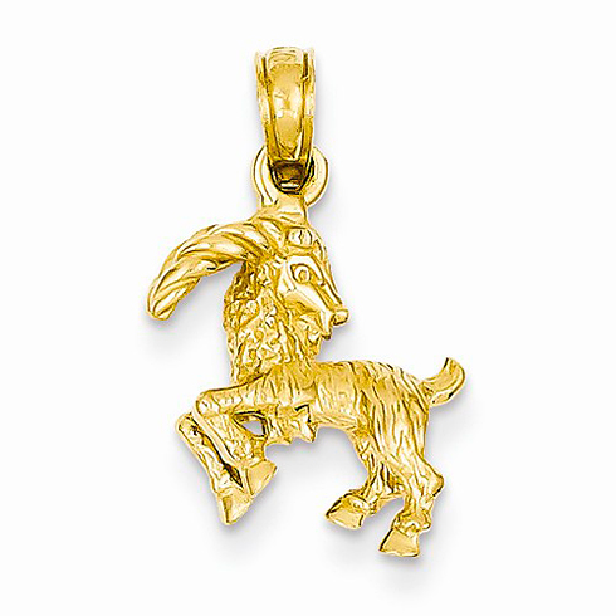 14kt Yellow Gold 3-D Capricorn Charm