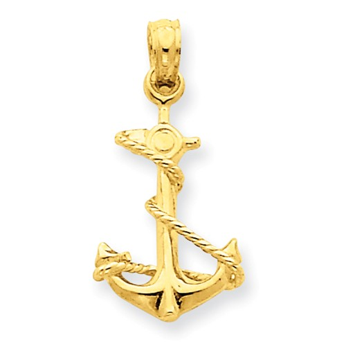 14kt Yellow Gold 5/8in 3-D Anchor Pendant with Rope