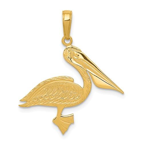 14k Yellow Gold Pelican Pendant 3/4in