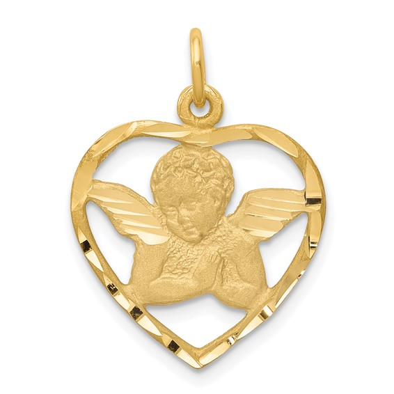 14k Yellow Gold 5/8in Angel in Heart Charm