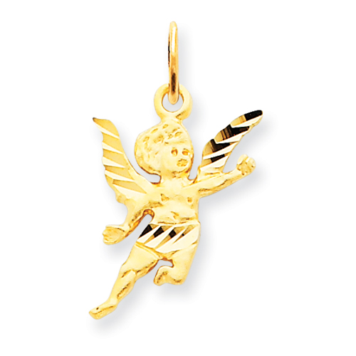 14kt Yellow Gold 5/8in Diamond-Cut Angel Charm